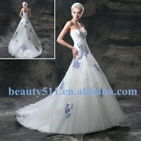 Elegant Embroidery A-line Sweetheart Sleeveless Floor-length Modest Wrap Bridal Lace Wedding Dresses Blue and White WD1922