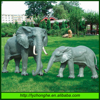 Outdoor garden life size fiberglass elephant animal sculpture