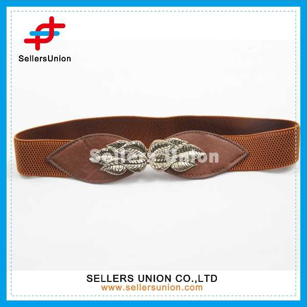 Brown Women Elastic Belt With Metal Leaves For Decoration