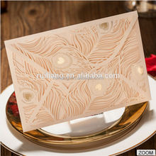 Hot sale elegant & artistic orange laser cut peacock wedding invitations
