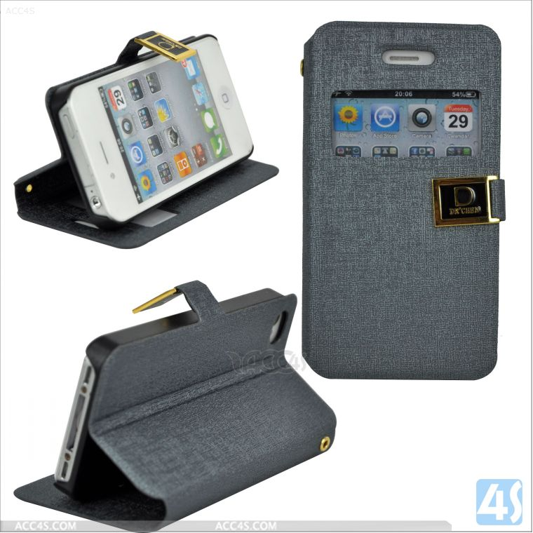 leather caller id window case for iphone 4