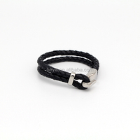 "Jewelry Men's ""Love God"" PU Leather Stainless Steel Black Band Bracelet"