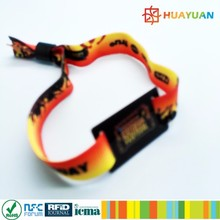 13.56mhz custom music festival woven bracelets RFID fabric wristband for event