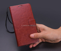 PU mobile phone flip cover wallet stand flip leather case for huawei ascend P7