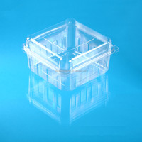 transparent clear pet plastic packing container with hinged lid for cherry/strawberry/orange