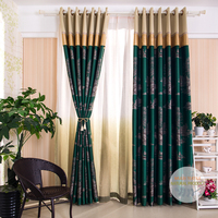 Green tree patterned jacquard window curtain panels sets for living room