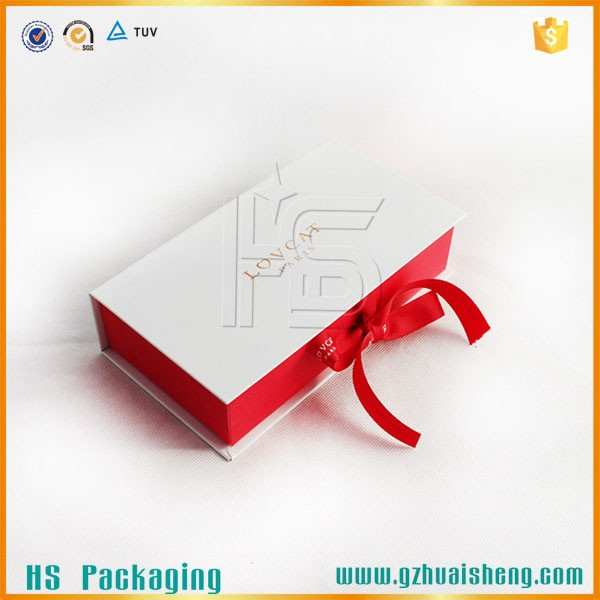 Full Color Printing Custom Folding Cardboard Gift Box With Ribbon