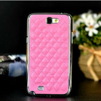luxury pu leather chrome hard case for samsung galaxy note 2 N7100