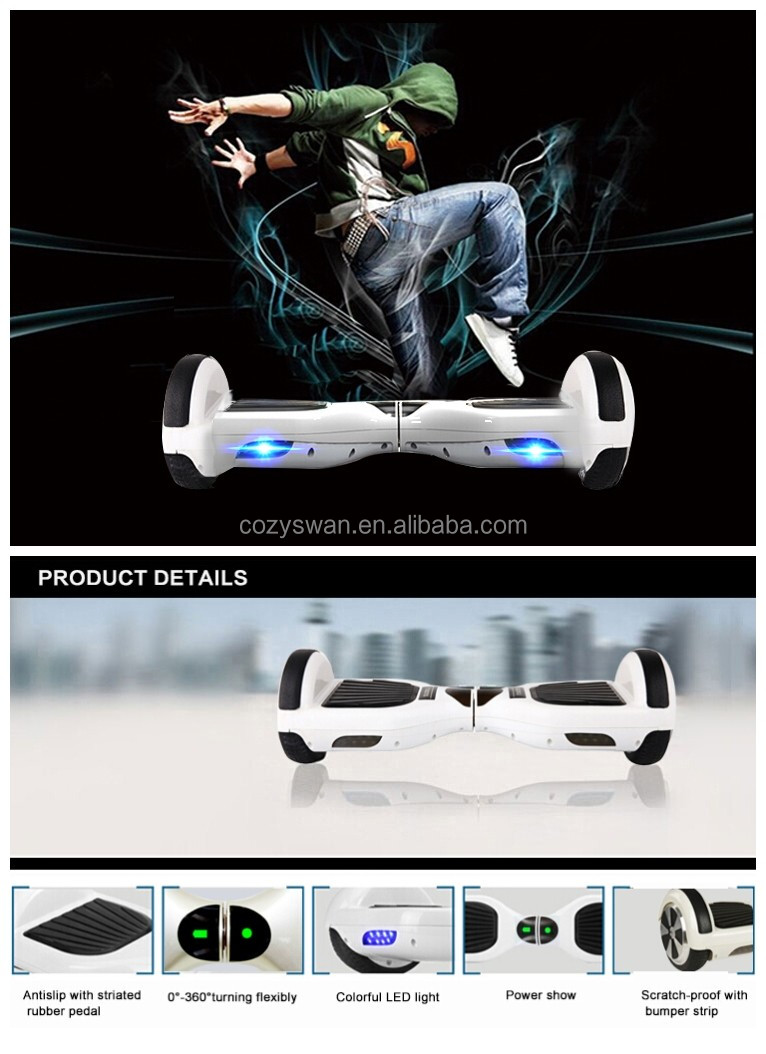 2016 Hot selling Smart Balance Electric scooter 6.5inch two wheel 2 wheels Electric Hoverboard for Adult