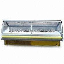 Lift-up Curved Glass Serve Over Counter for supermaket with 1.8/2.4/3.6m Optional Width