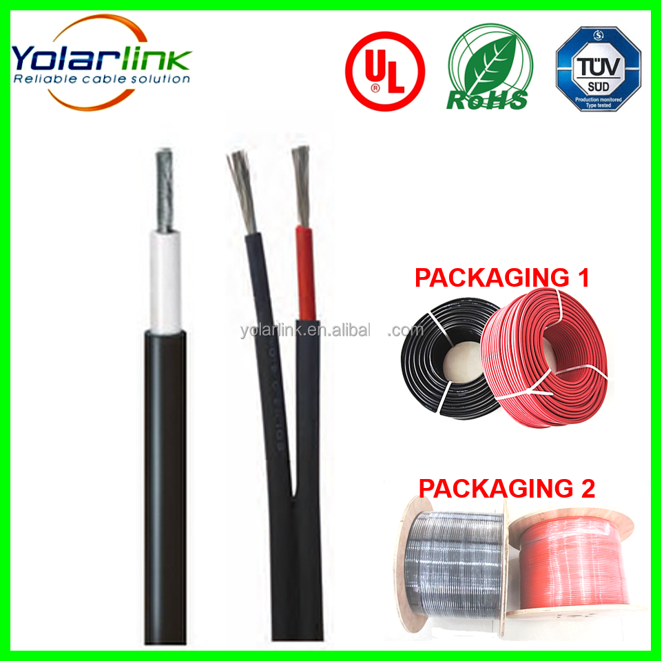 UV resistance XLPE double core 2*2.5mm2 PV cable 2Core for solar panel