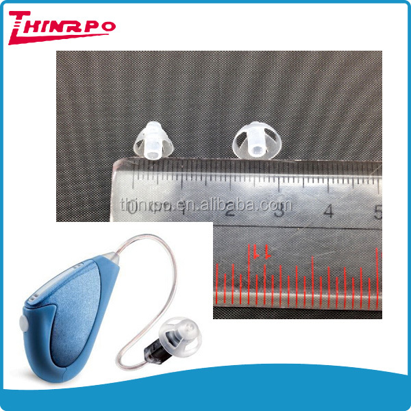 Transparent silicone gel earplugs for BTE earhook hearing aid accessories