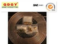 Copper coated Brake Line Tubing Kit 3/16 O.D. x 25 ft Coil w 15 3/16 fittings