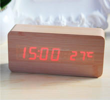 Home Desk Digital LED Stand Table Wooden Alarm Clock for Hotel with Temperature #S712