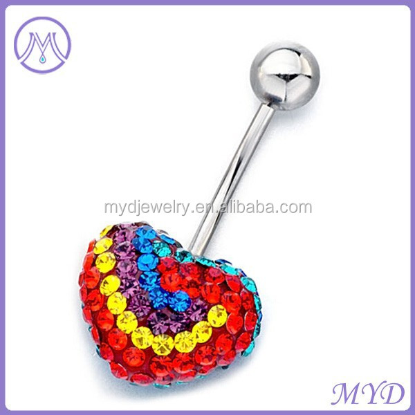 316L stainless steel heart crystal shamballa belly ring