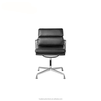 Modern office furniture white leather soft upholstered pad side chair