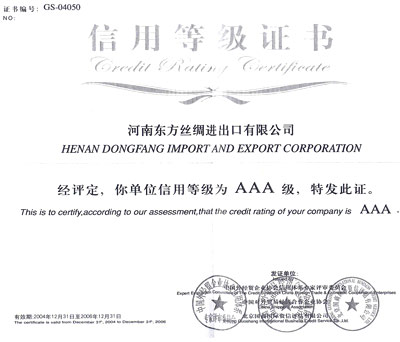 Credit Rating Certificate