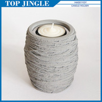 Fancy Yarn Shaped Concrete Candle Holder Stand