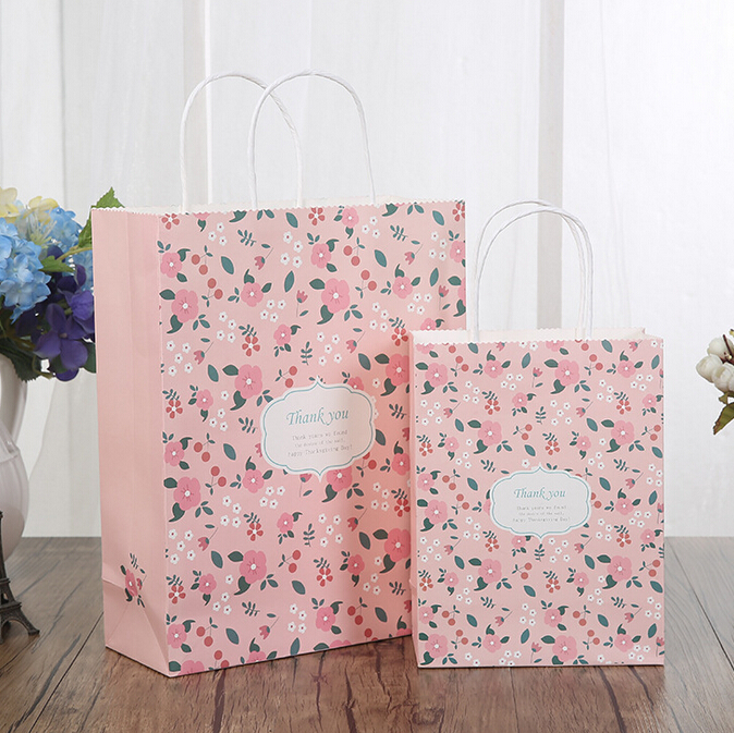Personality custom made logo flower printing shopping gift paper bag with low price