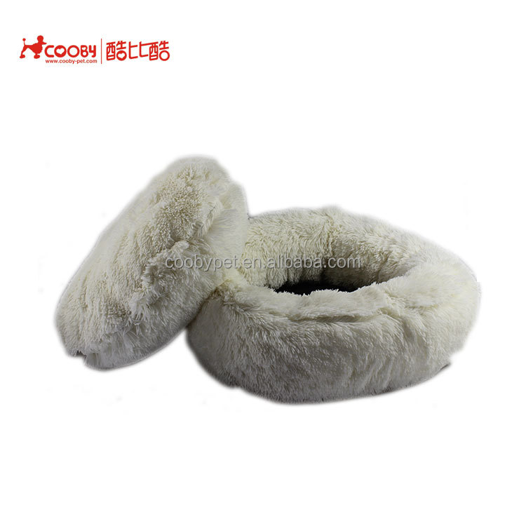 Assessed supplier winter round anti-slip 4cm PV fleece pet bed