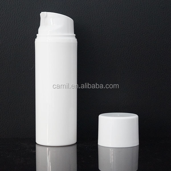 50ml 100ml white cosmetic airless pump plastic packaging container