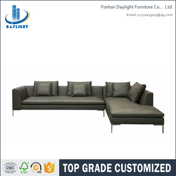 Living room high grade custom sofa furniture italy style modern solid wood frame top grain cow leather sofa