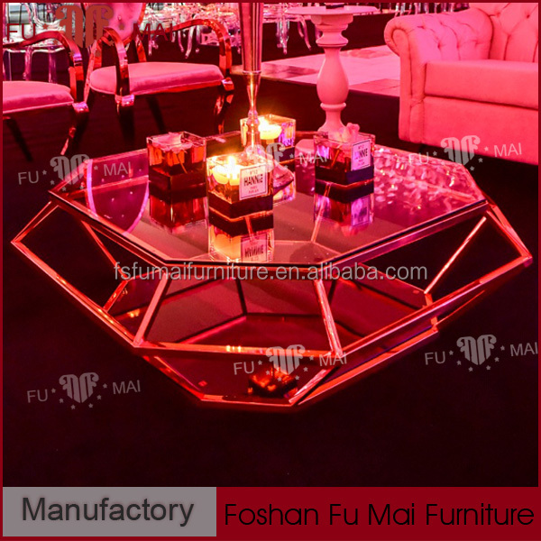 reasonable price gold stainless steel modern design glass tea table