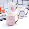 Zogift alibaba best sellers cup gifts Gold Handle Flamingo Gold Printing Ceramic Coffee Mug