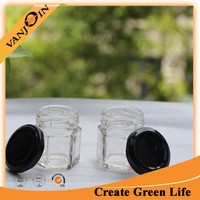 Clear Mini Glass Canning Jar Hexagon With Lid 45ml