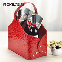 Latest New Luxury Foldable Gift Basket PU Leather Hanging Magazine Wine Food Basket