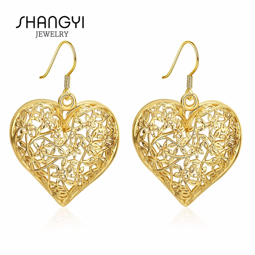 Fashion Jewelry Simple Charm Big Casting Heart Shaped Earrings