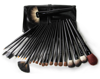Professional Quality 24pcs 24 pcs Cosmetic Facial Make Up Brush Kit Makeup Brushes Tools Set With Black Leather Case V0205A