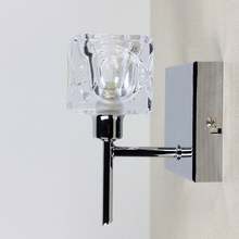 Modern Transparent Square Glass Hotel Bedroom Metal Wall Lamp