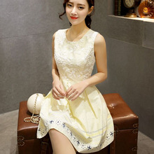 WAT1583 2016 women's sleeveless print dress fashion apricot dresses