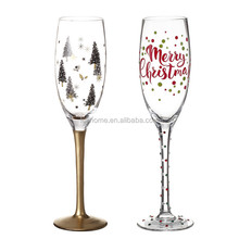 2-Pack Hand-painted Wedding Glass Champange Flute 8 oz.Christmas Holiday