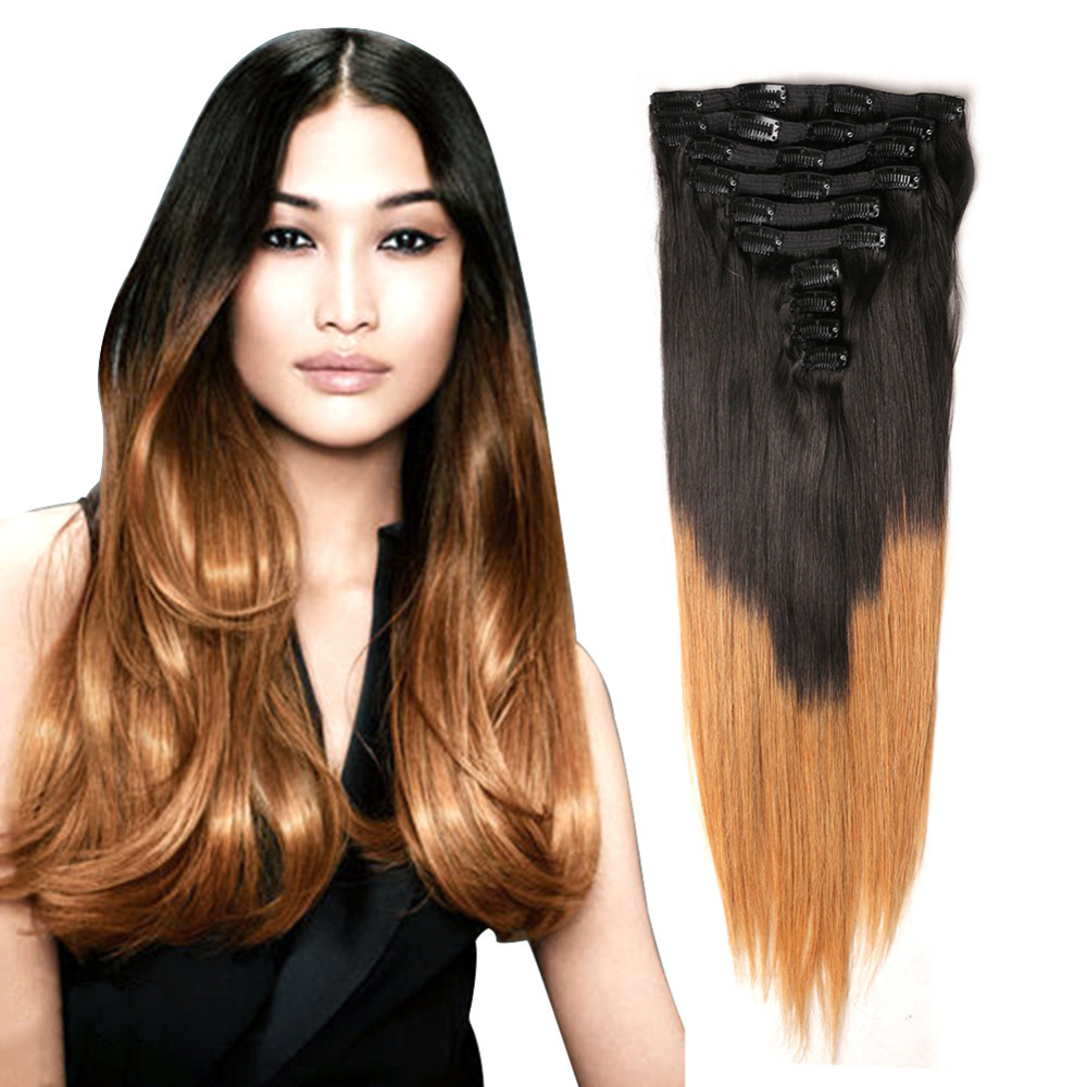 120g 150g Two Tone Quad Weft Clip On Hair Extensionbohemian Remy