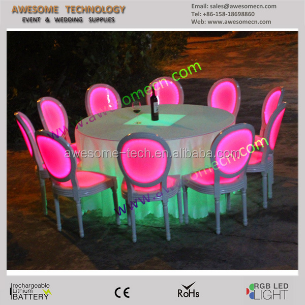 High quality acrylic led banquet furniture/led lighted banquet chair/lighting banquet hall chairs