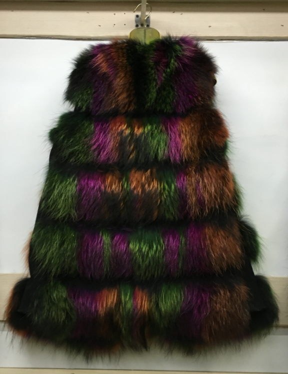 2016 new mult color fancy sexy raccoon fur waistcoat