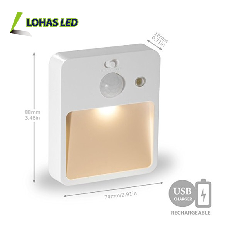 0.5W Motion Sensor Night Lights USB Rechargeable LED Cabinet Light for Hallway, Closet, Bedroom