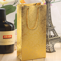 gold stamping luxury wine bags glass carry bag with logo printing manufacturer
