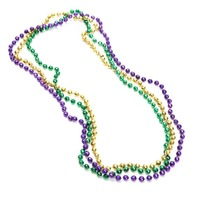 33 Inch 07mm Round Metallic Mardi Gras Beads