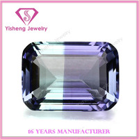 Wholesale Octagon Emerald Cut Colored Dichroic Glass Gems Stone