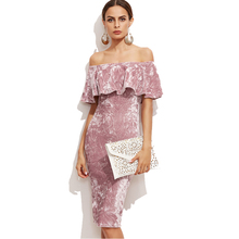 Pink Bodycon Party Evening Dress Plain Off Shoulder Velvet Ruffle Pencil Dress