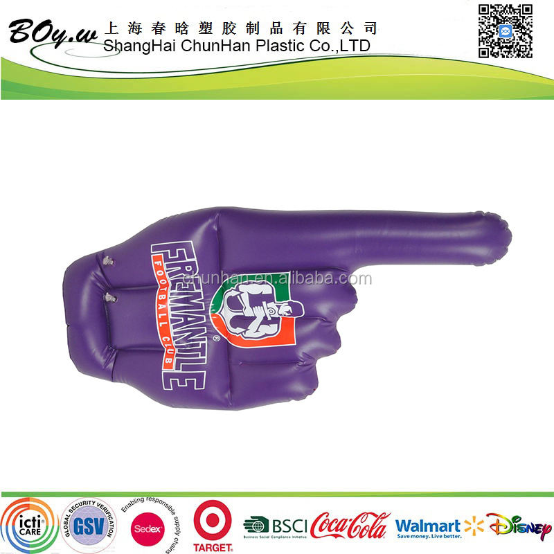 SMETA audit one figure kids glove toys customized logo printing air pvc inflatable arms with hands