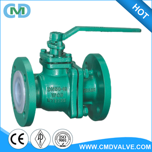 ISO 5211 DN50 WCB Two Pieces Rubber Teflon Lined Ball Valve with Lever