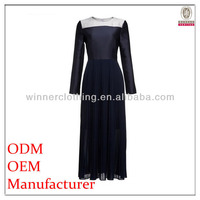 Custom OEM Service fashion ladies pleated slim fit muslimah long sleeve dresses with contrast color neck