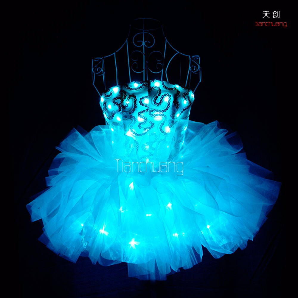 LED Light Salsa Dance Performance Dresses, Fancy Girls Dance Stage Costume Performance Dresses