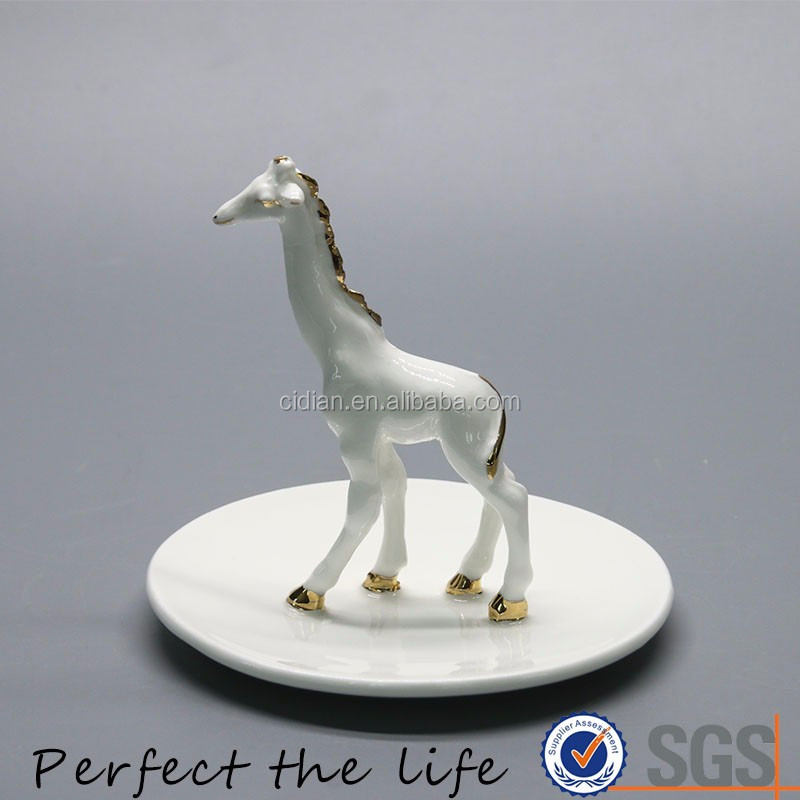 White Ceramic Horse Statue Animal ring Jewelry holder with golden rim