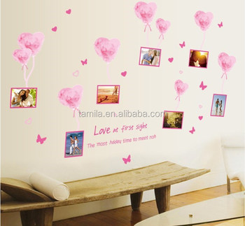 pink love balloon frame decorative diy wall sticker