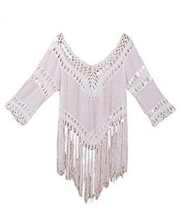 instyles Women Crochet Bikini Blouse Boho Beach Knitted Top Cover-Up Swimsuit Tunic <strong>1</strong>
